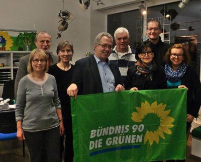 Jürgen Müller (4.v.l.) als Gast der GRÜNEN Ratsfraktion (v.l.n.r.: Ulrike Blucha, Claudio Vendramin, Irene Broßeit, Volker Stumpf, Angela Schmalhorst, Herbert Even, Ulrike Erdogan)