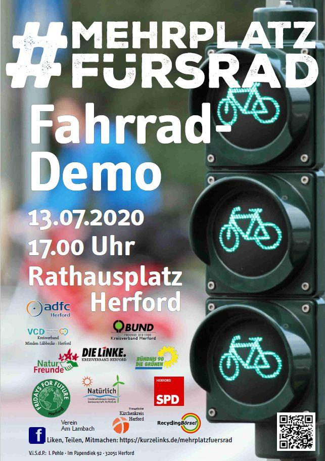 Fahrraddemo in Herford – #MehrPlatzfürsRad