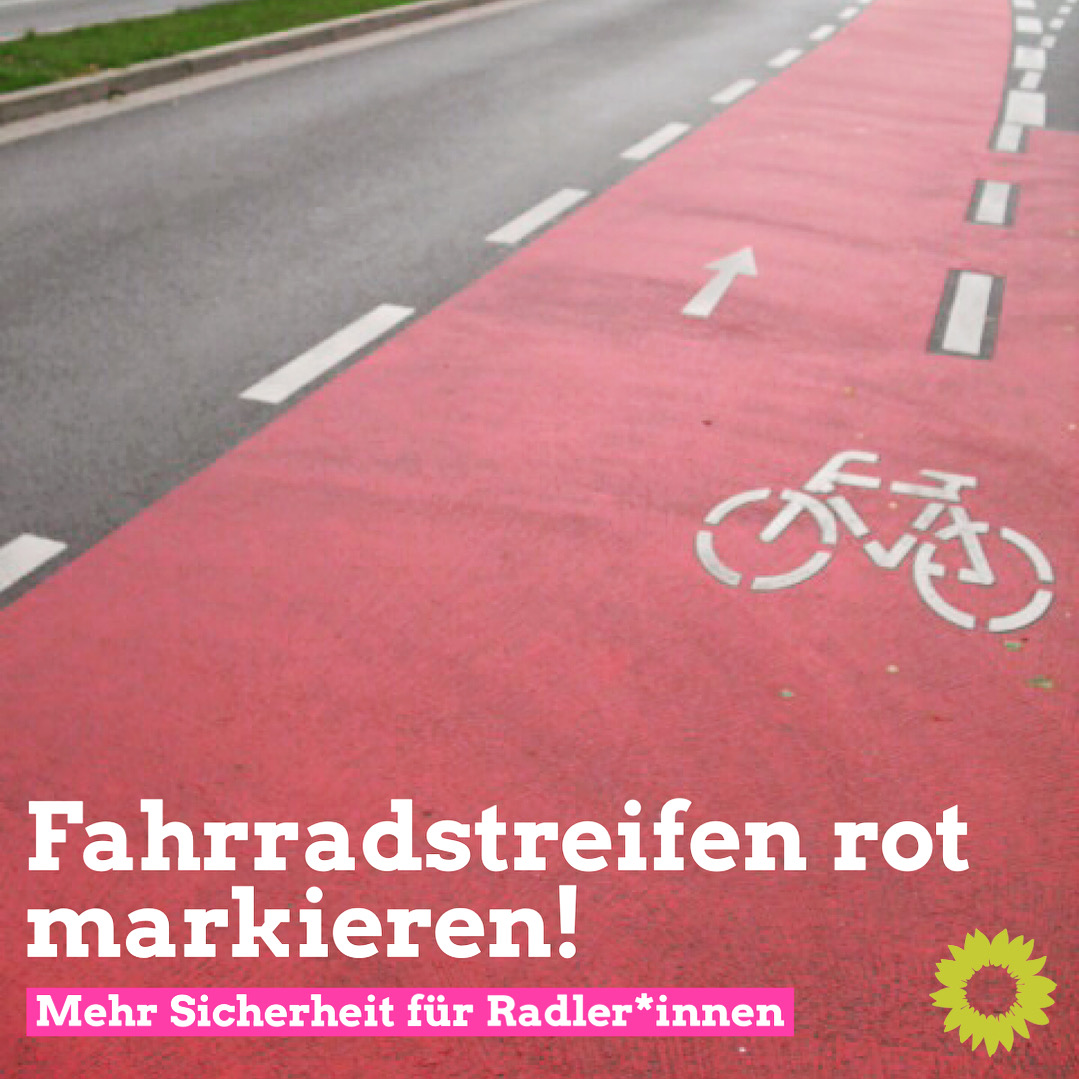 """GRÜNE regen rote Einfärbung aller Radfahr- und Schutzstreifen auf Herforder Straßen an/""""Ein wichtiger Beitrag zu Sicherheit und Fahrradfreundlichkeit"""""""
